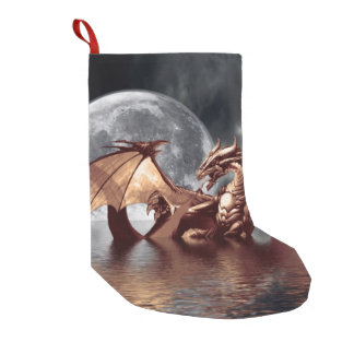 Dragon & Moon Fantasy Artwork Small Christmas Stocking