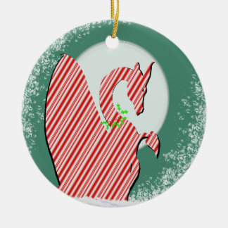 Dragon Moon Holiday (Candy Cane) Round Ceramic Decoration