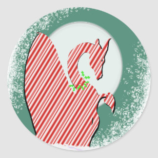 Dragon Moon Holiday (Candy Cane) Round Sticker