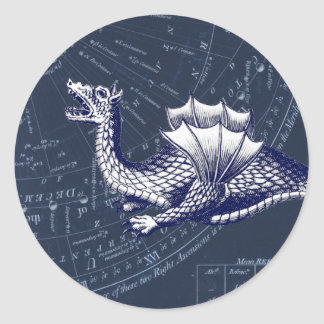 Dragon on Bue Gobal Chart Classic Round Sticker
