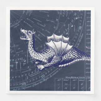 Dragon on Bue Gobal Chart Paper Napkin