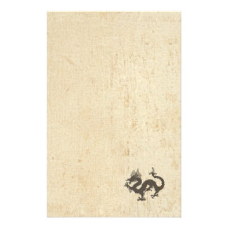Dragon on old grunge stationery paper