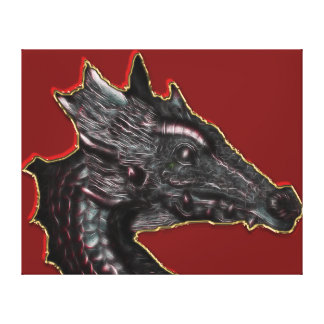 Dragon On Red Gallery Wrap Canvas