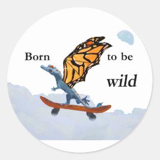 Dragon on Skateboard Classic Round Sticker