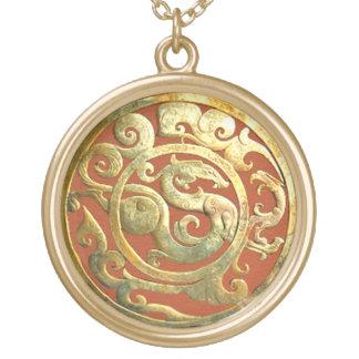 Dragon-Phoenix Chinese Artifact Golden Pendant