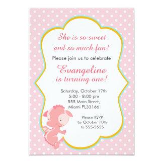 Dragon Pink Peach Girl Birthday Party Invitation
