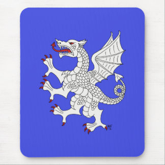 Dragon Rampant (White) Mouse Pad