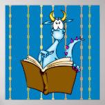 Dragon Reading Book Poster