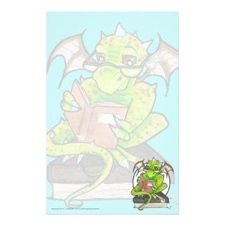 Dragon Reading fantasy art stationery letter paper