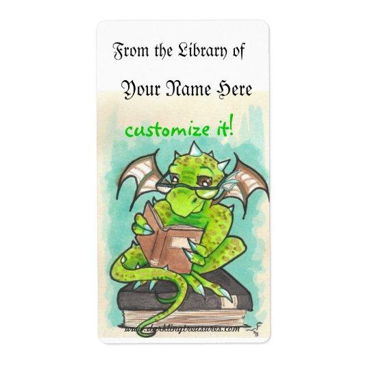 Dragon Reading fantasy art sticker bookplates Shipping Label