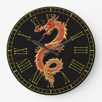 Dragon Red Your Background Color Wallclocks