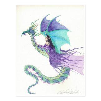 dragon rider fairy postcard