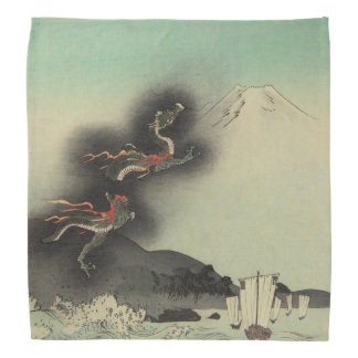 Dragon Rising Over Mount Fuji Bandannas