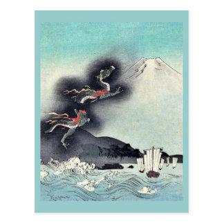 Dragon rising over Mount Fuji Ukiyoe Postcard