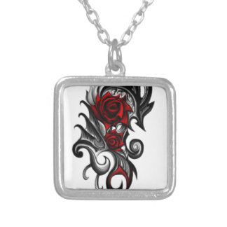 dragon rose silver plated necklace