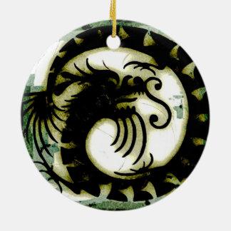 Dragon Round Ceramic Decoration