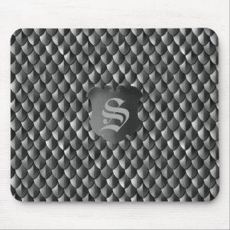 Dragon Scale Armor Black Monogram Mouse Pad