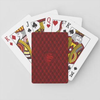 Dragon Scale Armor Blood Red Monogram Playing Cards