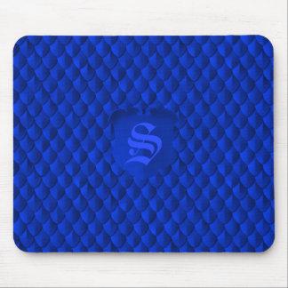 Dragon Scale Armor Cobalt Blue Monogram Mouse Pad