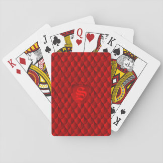 Dragon Scale Armor Crimson Red Monogram Playing Cards