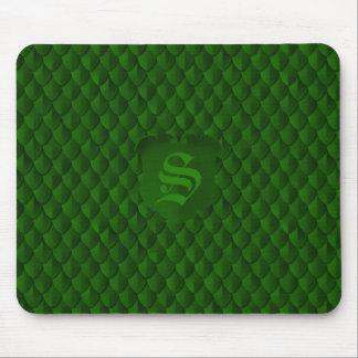 Dragon Scale Armor Emerald Green Monogram Mouse Pad