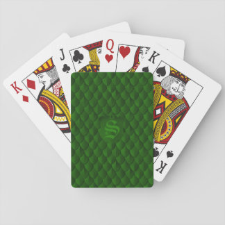 Dragon Scale Armor Emerald Green Monogram Playing Cards