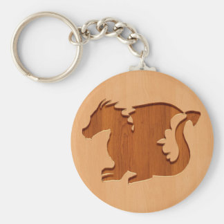 Dragon silhouette engraved on wood effect key ring