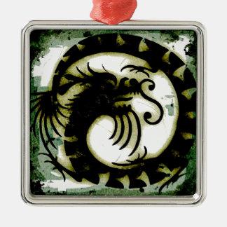 Dragon Silver-Colored Square Decoration