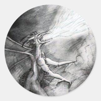 Dragon Sketch Round Sticker