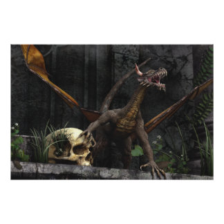 Dragon Skull Stand Poster