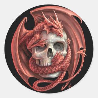 Dragon Skull Round Sticker