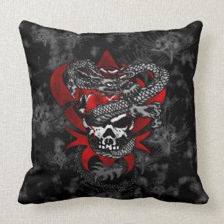 Dragon Skull w/Shadow Lilies Throw Pillow