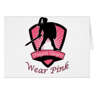 Dragon Slayers Wear Pink Woman Girl Power Design Card