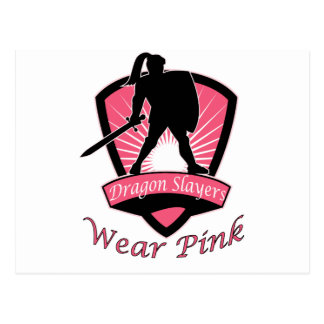 Dragon Slayers Wear Pink Woman Girl Power Design Postcards