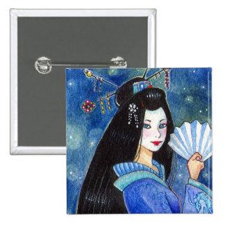 Dragon Smile Geisha Square Button