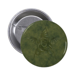 Dragon Star - Embossed Green Leather Image 6 Cm Round Badge