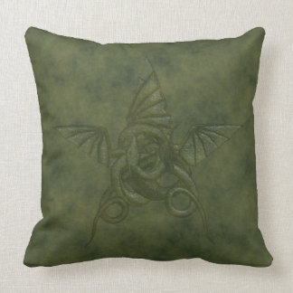 Dragon Star - Embossed Green Leather Image Cushion