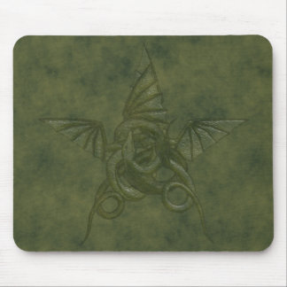 Dragon Star - Embossed Green Leather Image Mouse Pad