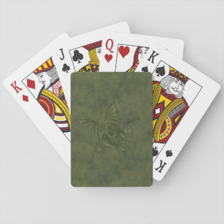 Dragon Star - Embossed Green Leather Image Poker Cards