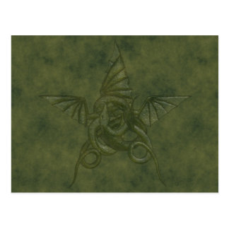 Dragon Star - Embossed Green Leather Image Postcard