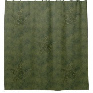 Dragon Star - Embossed Green Leather Image Shower Curtain