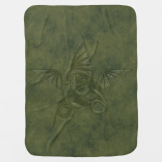 Dragon Star - Embossed Green Leather Image Swaddle Blankets