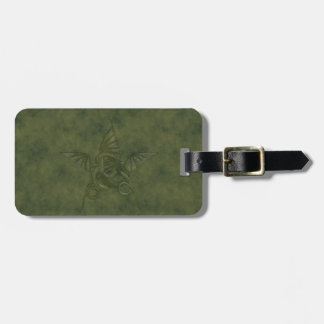 Dragon Star - Embossed Green Leather Image Tags For Bags