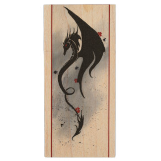 Dragon Tapestry Wood USB Flash Drive