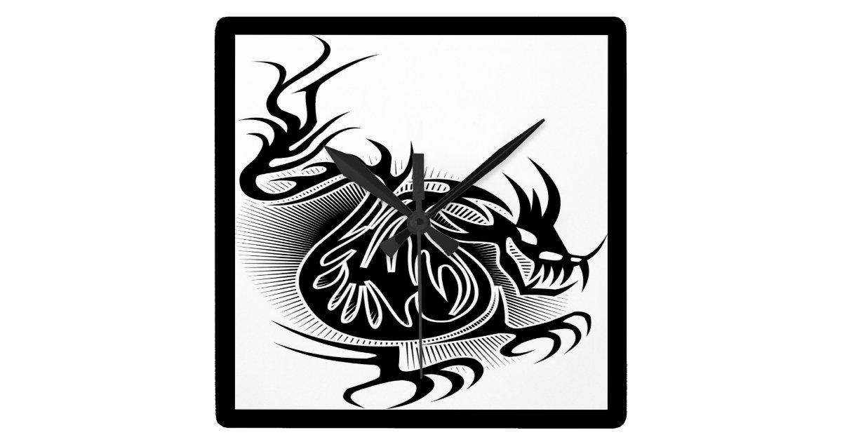 dragon tattoo design square wall clock. Black Bedroom Furniture Sets. Home Design Ideas