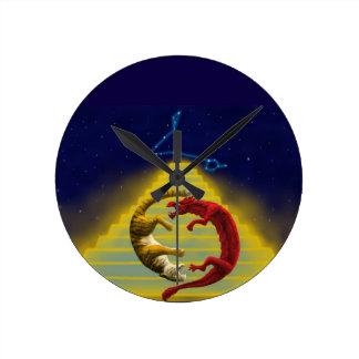 Dragon Tiger Constellation Round Clock