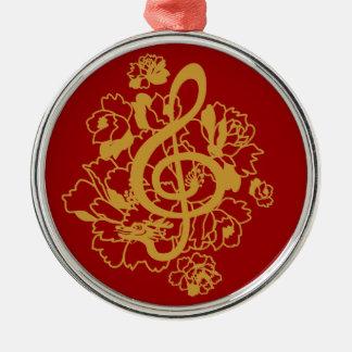 Dragon treble clef peonies music Custom Ornament