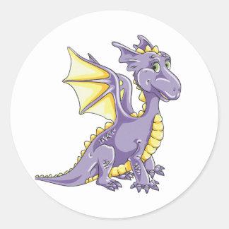 Dragon violet round sticker