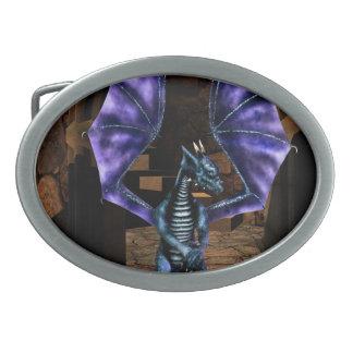 Dragon Wings Oval Belt Buckle