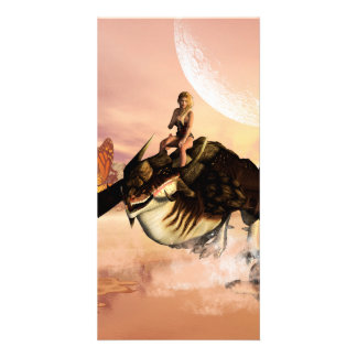 Dragon wirh elf flying over a sea customized photo card